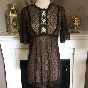 Free People Dark Brown Lace Embroidered Top